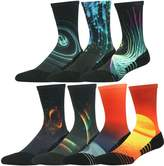 HUSO Men's Women's Youth Galaxy Colorful Athletic Crew Socks Seamless Light Cushion Mid Calf Crew Socks 7 Pairs (Multicolor,)