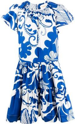 La DoubleJ geometric print ruffle dress