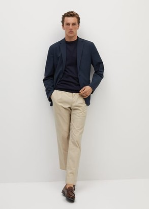 MANGO MAN - Slim fit technical fabric blazer khaki - 36 - Men