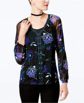 INC International Concepts Floral-Print Lace-Up Sheer-Sleeve Top, Created for Macy's