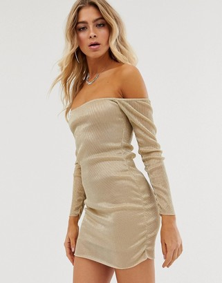 Bardot In The Style Metallic Sheer Dress-Gold