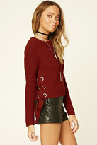Forever 21 Lace-Up Crew Sweater
