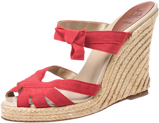 Christian Louboutin Red Canvas Delfin Espadrille Wedge Sandals Size 41