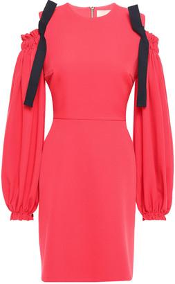 Roksanda Cold-shoulder Bow-embellished Crepe Mini Dress