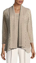 Kasper Suits Laser-Cut Flyaway Cardigan