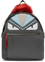 Fendi Grey Nylon and Fur bag Bugs Backpack