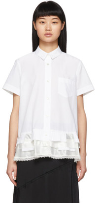 Sacai White Satin Hem Shirt