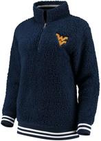 Unbranded Women's Navy West Virginia Mountaineers Varsity Banded Sherpa Quarter-Zip Pullover Jacket
