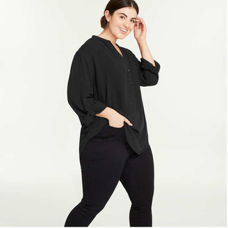 Joe Fresh Women+ Button-Tab Shirt, Black (Size 3X)