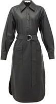 Tibi Belted Faux-leather Shirtdress - Womens - Black