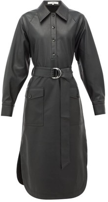 Tibi Belted Faux-leather Shirtdress - Womens - Black