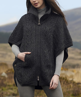 West End Knitwear Women's Ponchos CHARCOAL - Charcoal Merino Wool Funnel-Neck Cardigan - Women