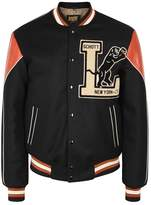Schott Nyc Appliquéd Leather And Wool Bomber Jacket