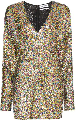 ATTICO The balloon sleeve sequinned mini dress