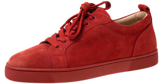 Christian Louboutin Red Suede Lace Up Sneakers Size 39.5