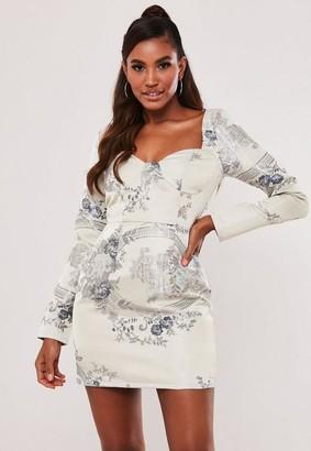 Missguided Grey Floral Satin Jacquard Mini Dress