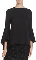Milly Stretch Silk Bell Sleeve Blouse