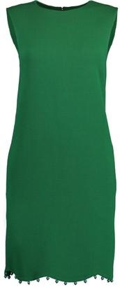 Oscar de la Renta Hunter Green Ball Trim Sleeveless Shift Dress