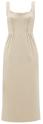 Emilia Wickstead Juditella Darted Wool Midi Pencil Dress - Nude