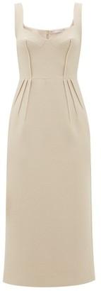 Emilia Wickstead Juditella Darted Wool Midi Pencil Dress - Womens - Nude