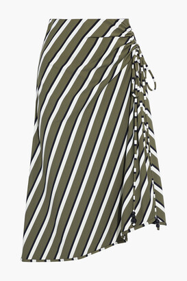 Solid & Striped Ruched Striped Stretch-jersey Skirt