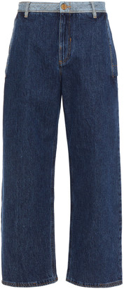 McQ Two-tone High-rise Wide-leg Jeans