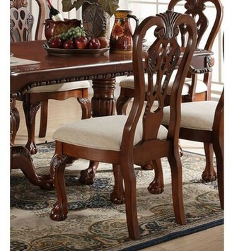 Astoria Grand Yip Upholstered Queen Anne Back Side Chair in Beige