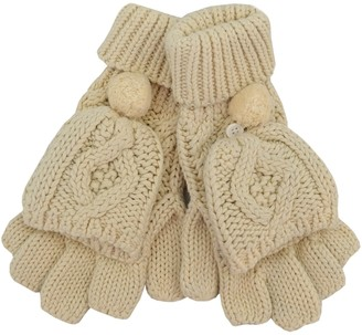 Patrick Francis Cream Aran Knit Aran Pomp Mitten Gloves