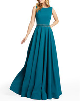 Mac Duggal Ieena For 6-Week Shipping Lead Time Beaded-Waist Bateau-Neck Sleeveless Pleated A-Line Gown