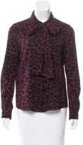 Miu Miu Leopard Print Button-Up Top