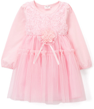 Wenchoice Girls' Special Occasion Dresses PINK - Pink Floral Long-Sleeve A-Line Dress - Infant & Toddler