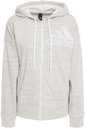 adidas Printed Melange Cotton-blend Jersey Hooded Sweatshirt