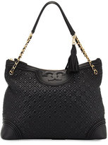 Tory Burch Fleming Quilted Leather Tote Bag, Black