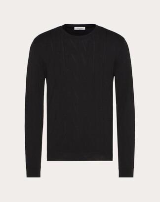 Valentino Vltn Times Crew-neck Sweater Man Black Virgin Wool 56%, Viscose 44% M