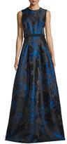 Carmen Marc Valvo Sleeveless Pleated Floral Satin Gown, Royal/Black
