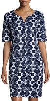Neiman Marcus Geometric Print Shift Dress, Navy/White