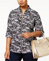 MICHAEL Michael Kors Size Lace-Print Zip-Front Shirt