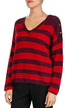 Gerard Darel Sardaigne Striped Button Detail Sweater