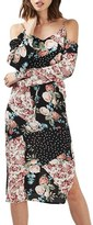 Topshop Women's Floral Print Cold Shoulder Dress
