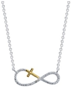 Unwritten Gratitude & Grace Two-Tone Cubic Zirconia Infinity and Cross Pendant Necklace