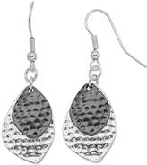 Apt. 9 Dimpled Two Tone Nickel Free Marquise Double Drop Earrings