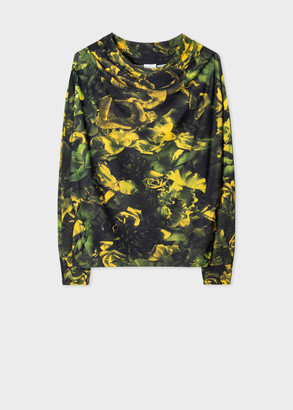 Paul Smith Women's Yellow 'Floral Photo' Cowl Neck Top