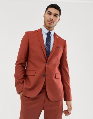Harry Brown skinny fit burnt red stretch textured suit jacket