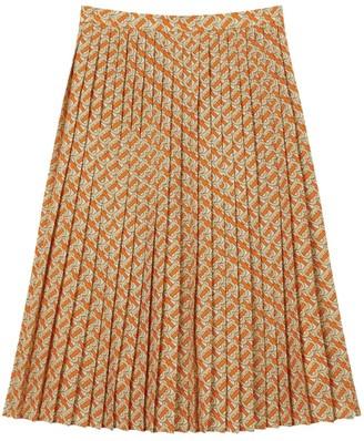 Burberry Pleated Tb Monogram Skirt