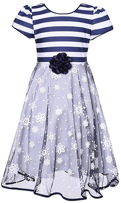 Richie House Girls' Casual Dresses Navy - Navy Stripe Party Dress - Toddler & Girls