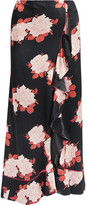 GANNI Wrap-effect Floral-print Satin Maxi Skirt