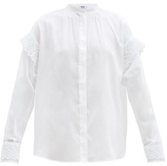 MSGM Crochet-trimmed Cotton-blend Shirt - White