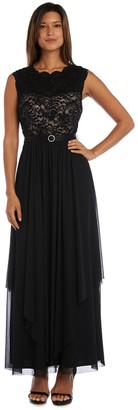R & M Richards R&M Richards Maxi Gown with Lace Bust and SheerSkirt