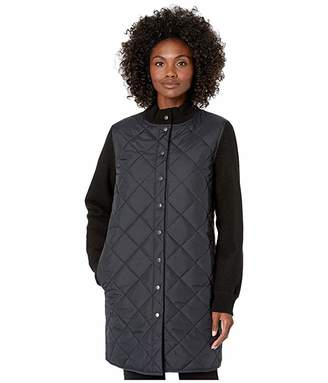 Eileen Fisher Quilted Recycled Nylon with Boiled Wool Stand Collar Jacket