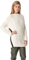 3.1 Phillip Lim Zip Oversized Pullover with Faux Trim